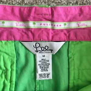 "Lilly Pulitzer Shorts - Lilly Pulitzer Palm Green Shorts 5"" inseam sz 12"